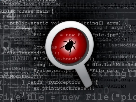 bug in a magnifying glass, over background of code